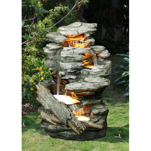 Resin Rock Multi-Level Fountain with Light by Hi-Line Gift Ltd.