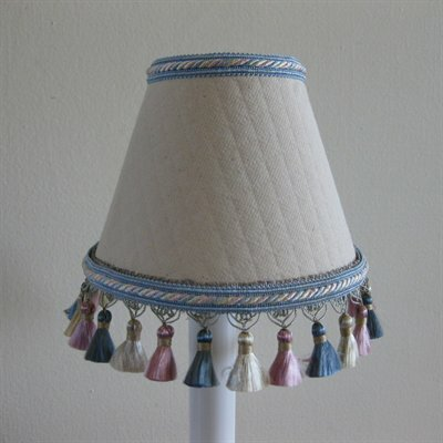 Clearly Cute 7 H Fabric Empire Lamp shade ( Screw on ) in Blue/Gray