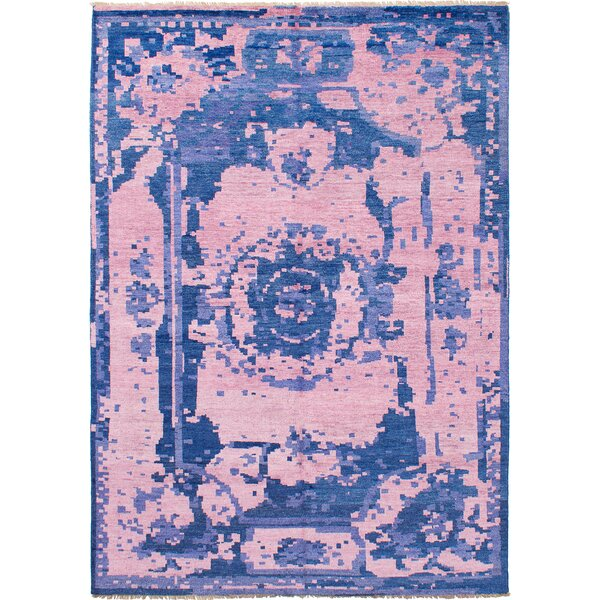 One-of-a-Kind Boadicea Hand-Knotted Silk Navy Blue/Pink Area Rug by Isabelline