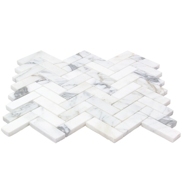1 x 3 Marble Mosaic Tile in White/Gray by Splashback Tile