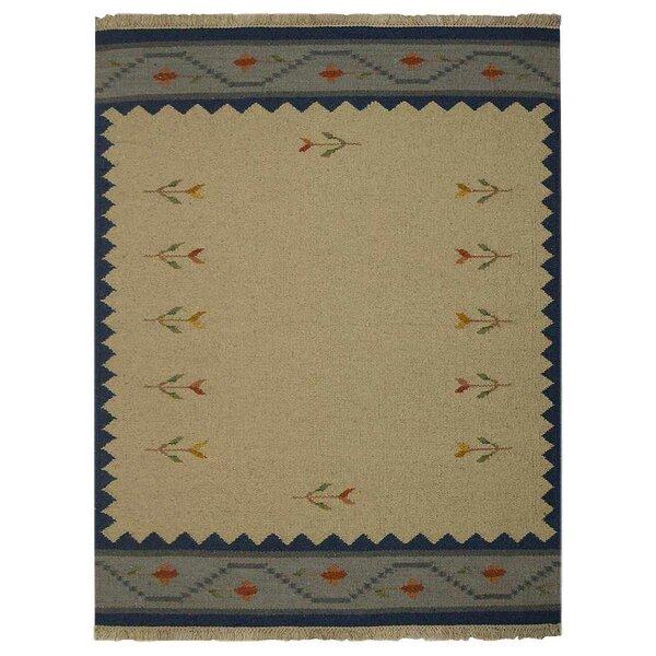 St Catherine Handmade Kilim Wool Blue/Brown Area Rug by Millwood Pines
