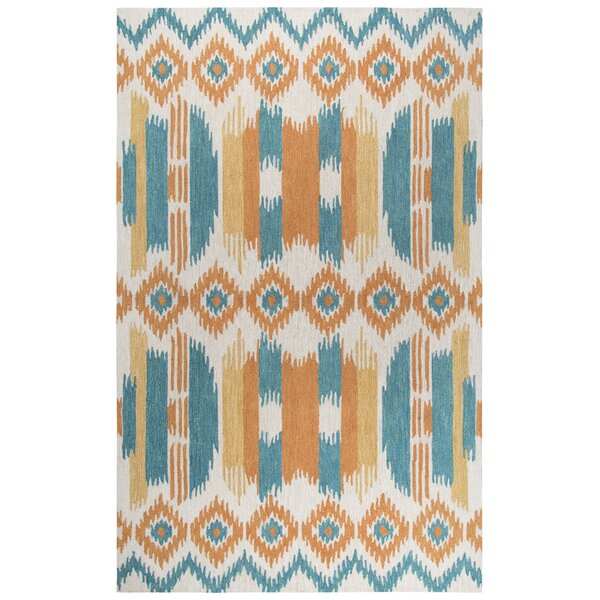 Duron Hand-Tufted Wool Blue/Natural Area Rug by Bungalow Rose