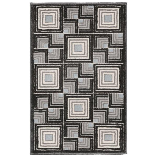 Kari Boxes Black/Gray Area Rug by Wrought Studio
