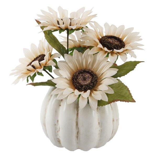 Sunflower Floral Arrangement in Pumpkin Pot by August Grove