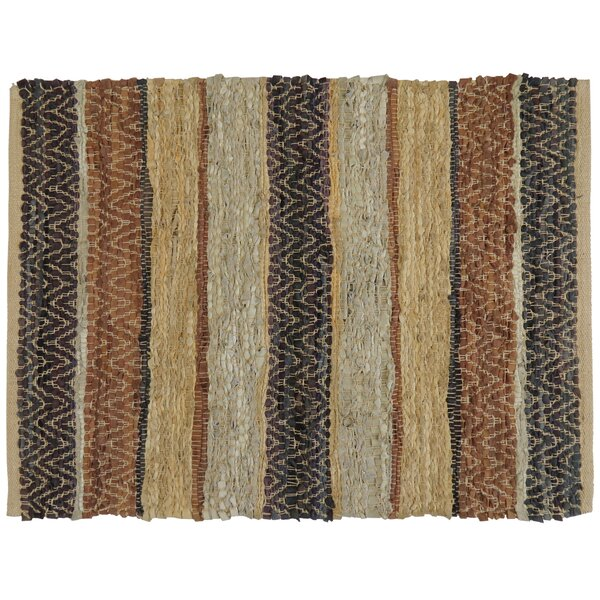 Rojas Stripe Hand-Woven Suede Area Rug by Loon Peak