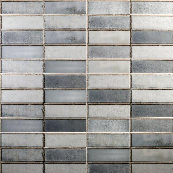 Piston Industrial Glass 4 x 12 Porcelain Subway Tile in Gray by Splashback Tile