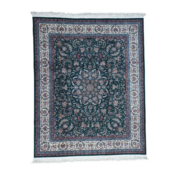 One-of-a-Kind Salmons Sino 300 Kpsi Hand-Knotted Green Area Rug by Astoria Grand