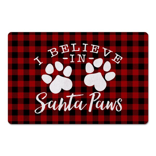 Freddie I Believe in Santa Paws Kitchen Mat