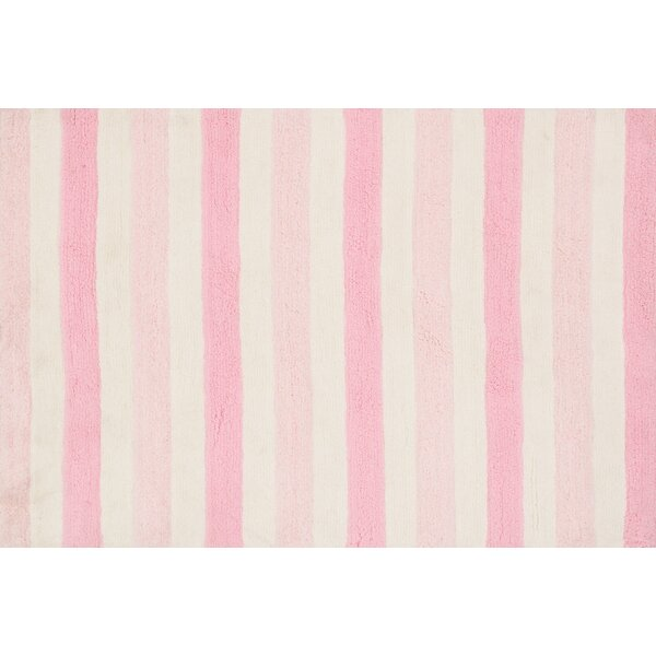 Stripe Hand-Woven Pink Area Rug by Birch Lane™