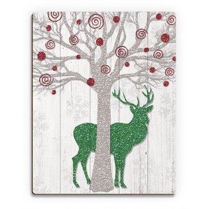 'Glamour Red Tree & Green Reindeer ' Graphic Art on Plaque by Click Wall Art