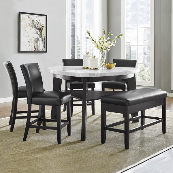 Carrara 6 Piece Counter Height Pub Table Set by Wrought Studio
