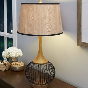 Metal wire table lamp wayfair mckayla 23 table lamp with metal wire cage and faux wood shade greentooth Images