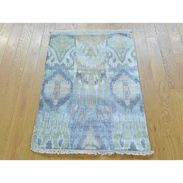 One-of-a-Kind Benelva Art Ikat Hand-Knotted Silk Area Rug by Isabelline