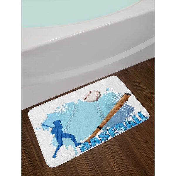 Silhouette Baseball Bath Rug by East Urban Home