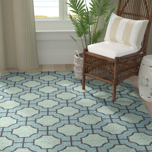 Brian Moss/Blue Geometric Area Rug by Highland Dunes