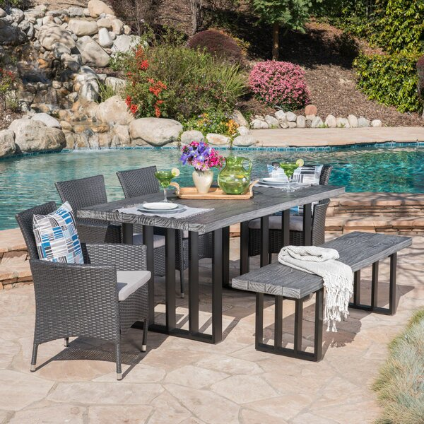 Younes Outdoor 6 Piece Dining Set with Cushions by Rosecliff Heights