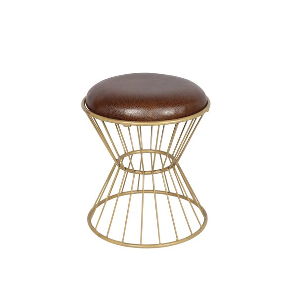 Faux Leather Wire Frame Stool by Fashion N You by Horizon Interseas
