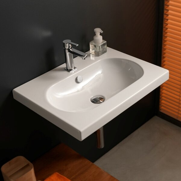 EDO Wide Ceramic 24 Wall Mount Bathroom Sink with Overflow by Ceramica Tecla by Nameeks
