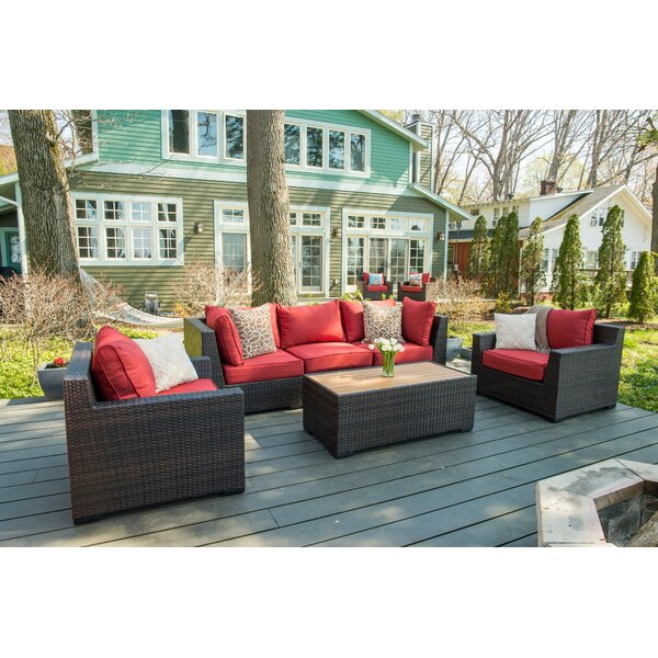 Coast 6 Piece Rattan Sectional Seating Group with Cushions by Rosecliff Heights
