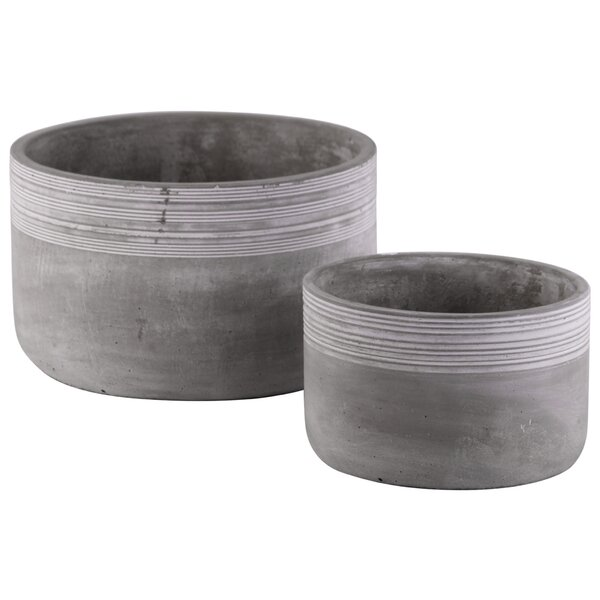 Cutler Round Ribbed Banded Rim Top 4 Piece Cement Pot Planter Set by Williston Forge