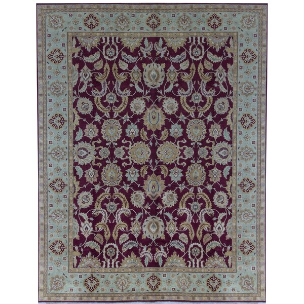 One-of-a-Kind Bikaner Hand-Knotted Dark Red 11'1 x 14'3 Wool Area Rug