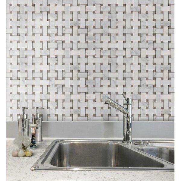Marble Basketweave Mosaic Subway Wall & Floor Tile