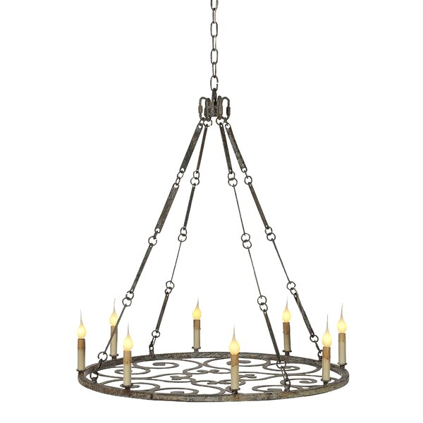 8-Light Candle Style Wagon Wheel Chandelier by ellahome ellahome