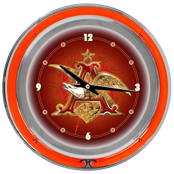 Budweiser 14 A and Eagle Wall Clock by Trademark Global