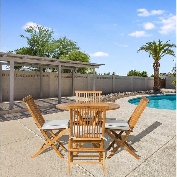 Vick 5 Piece Teak Dining Set with Sunbrella Cushions Bayou Breeze W001927871