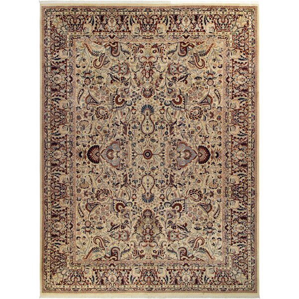 Bellomy Aness Hand-Knotted Wool Ivory/Red Area Rug by Astoria Grand