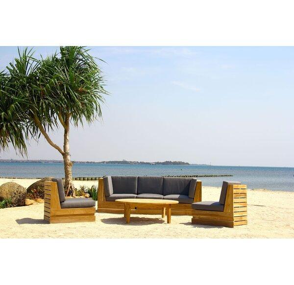 Seaside 6 Piece Teak Sunbrella Sectional Set with Cushions by Trijaya Living