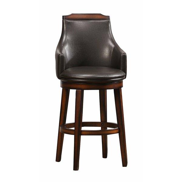 Putnam Wood/Leather 29 Swivel Bar Stool (Set of 2) by Loon Peak