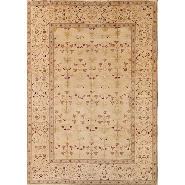 One-of-a-Kind Nakasi Oushak Peshawar Pakistan Oriental Hand-Knotted Wool Beige/Ivory Area Rug by Astoria Grand