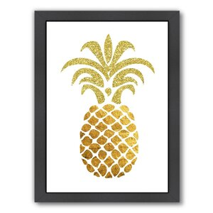 Pineapple 4 Framed Graphic Art in Gold and White by East Urban Home