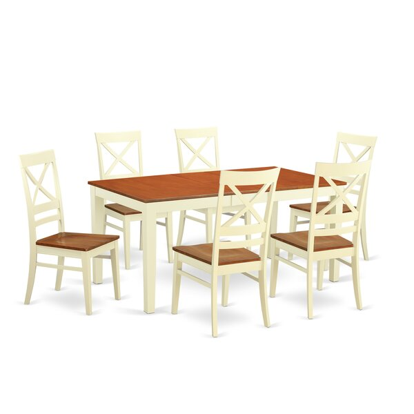 Cleobury 7 Piece Rubberwood Dining Set by August Grove