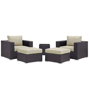 Ryele 5 Piece Rattan Conversation Set with Cushions By Latitude Run