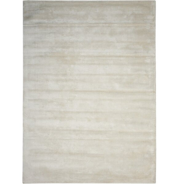 Lunar Hand-Woven Luminescent Rib Beige Area Rug by Calvin Klein