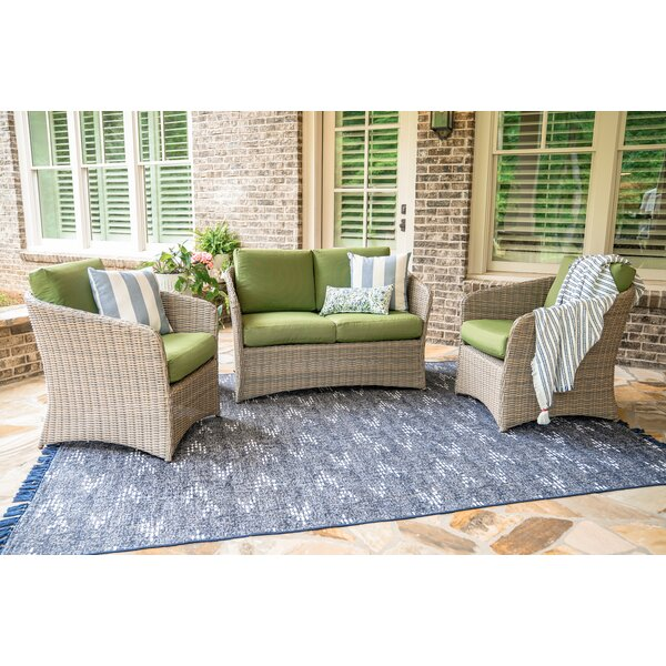 Davisboro 3 Piece Rattan Sofa Seating Group with Cushions by Rosecliff Heights