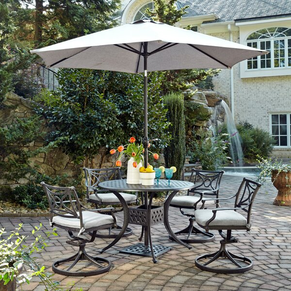 Flagg Cast Aluminum Outdoor 3 Piece Dining Set with Cushions by Darby Home Co