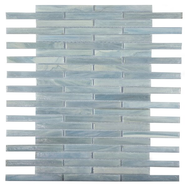 Brick 0.5 x 4 Glass Mosaic Tile in Seablue by Byzantin Mosaic
