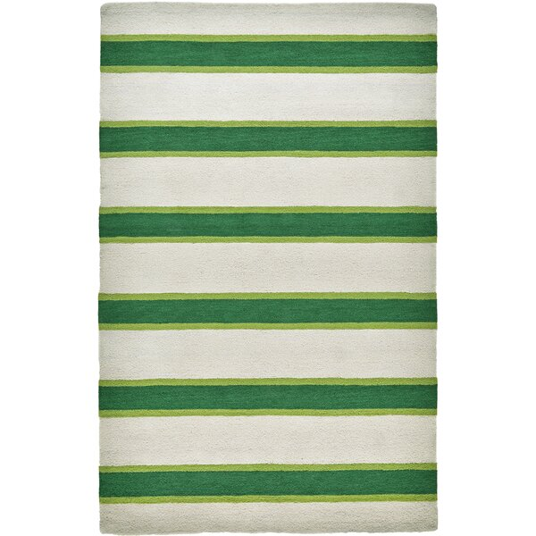 Teague Hand-Tufted Green/Ivory Indoor/Outdoor Area Rug by Bay Isle Home