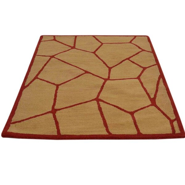 Verla Hand-Tufted Wool Gold/Red Area Rug by World Menagerie