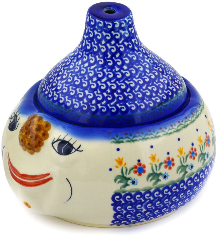 Polish Pottery Spring Flowers Garlic And Onion Kitchen Canister