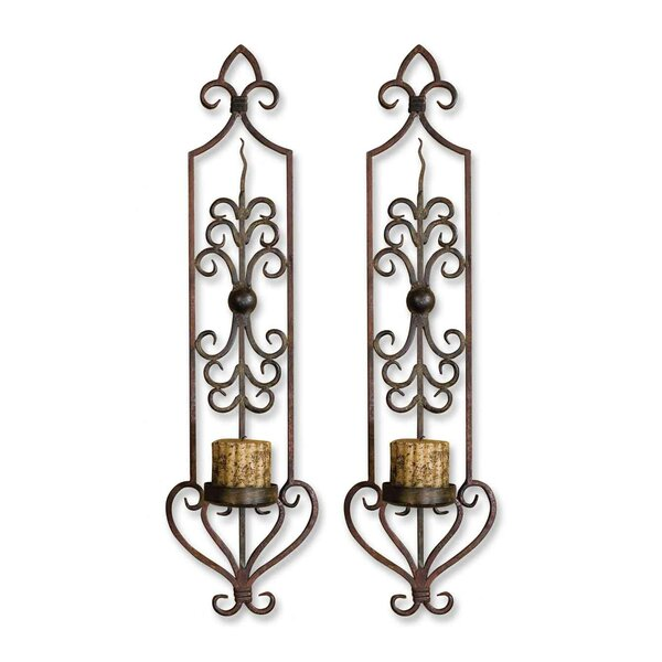 Candle 2 Metal Sconce Set (Set of 2) by Fleur De Lis Living