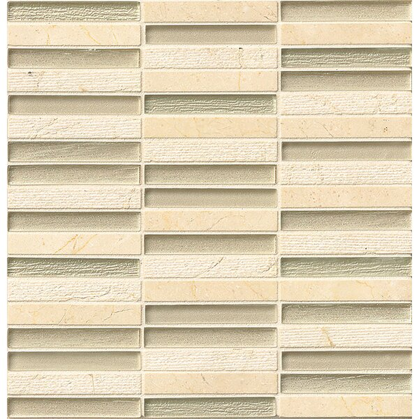 Tessuto 0.5 x 4 Stone and Glass Mosaic Tile in Beige by Bedrosians