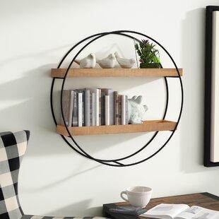 Maisha Round Metal and Wood Wall Shelf