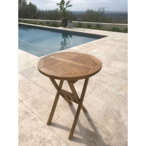 Chatham Square Round Folding Teak Bistro Table by Rosecliff Heights
