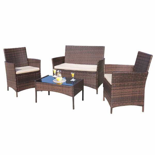 Donn Conversation 4 Piece Rattan Sofa Seating Group with Cushions by Brayden Studio
