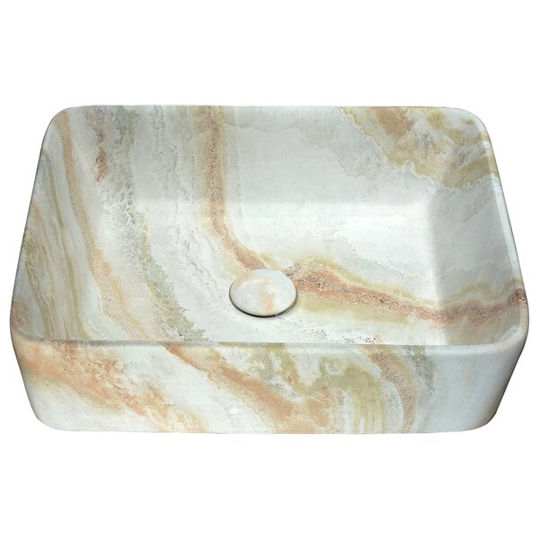 Marbled Series Vitreous China Rectangular Vessel Bathroom Sink by ANZZI