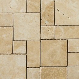 Travertine 12 x 12 Mini Versailles Mosaic in Beige by Emser Tile